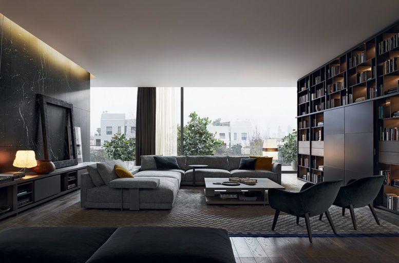 Il soggiorno è uno spazio ampio e comodo in cui ricevere amici o rilassarsi. L'atmosfera con luce diffusa e in ombra invita alla meditazione. Divano Bristol di Jean-Marie Massaud